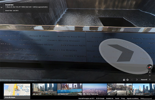 Tour virtuale 9/11 Museum by Google Maps