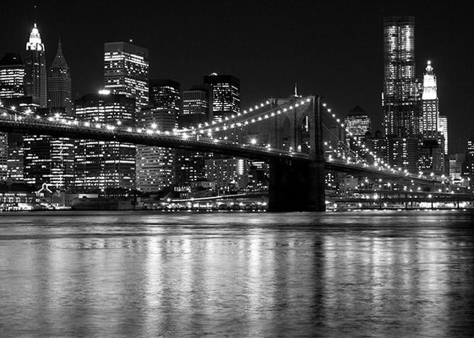 vista notturna ponte di brooklyn
