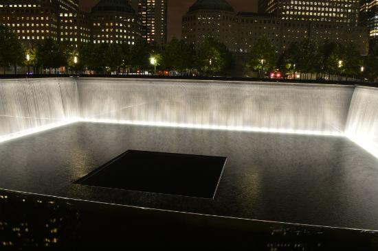 vista serale del memoriale torri gemelle