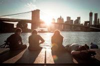 Vista di Manhattan e del Brooklyn Bridge da Dumbo