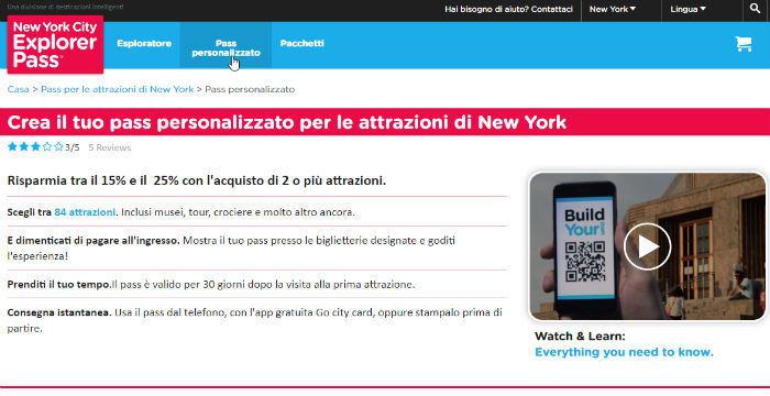 Build Your Own Pass New York, sito ufficiale