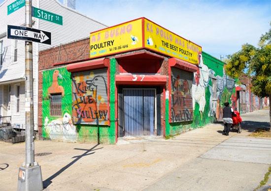 Street Art sui negozi di Bushwick, Brooklyn, New York