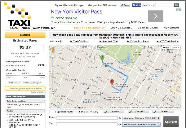calcola costo del taxi a new york