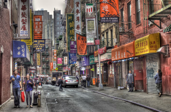 il quartiere di Chinatown, New York