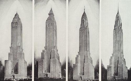 evoluzione del progetto del Chrysler Building