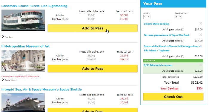 Screenshot - guida acquisto Build Your Own Pass New York
