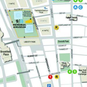 Mappa per accedere al museo 9/11