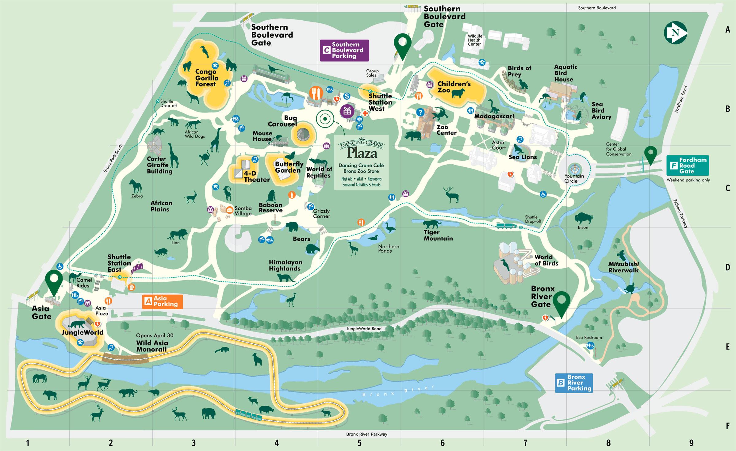 mappa dello zoo del Bronx a New York