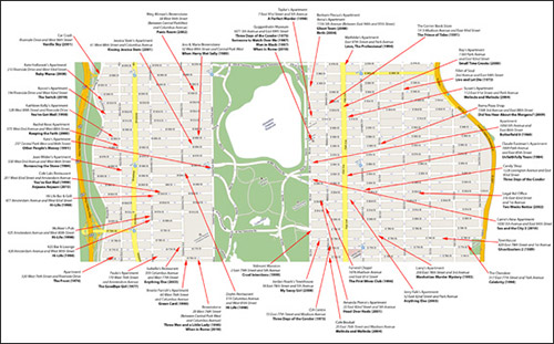 mappa delle location di new york zona upper manhattan, presenti su film famosi