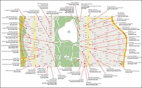 mappa delle location di new york zona upper manhattan, presenti su film famosi