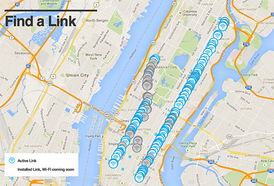 mappa dei nyclinks con wi-fi gratuito a new york