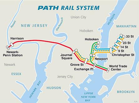 mappa linea path tra newark e manhattan