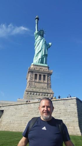 mauro con la Statua della Liberta