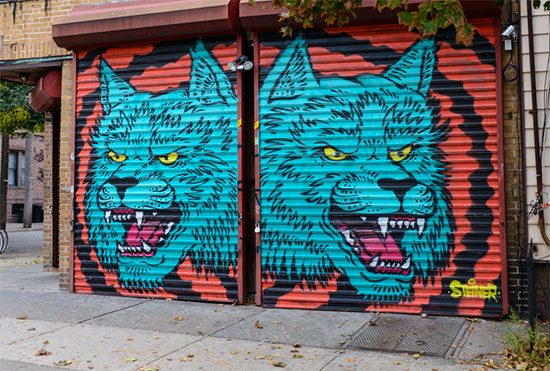 Murales e graffiti a Bushwick su muri di attività commerciali - Fotogallery 08