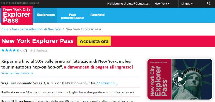 Screenshot del sito ufficiale del New York Explorer Pass
