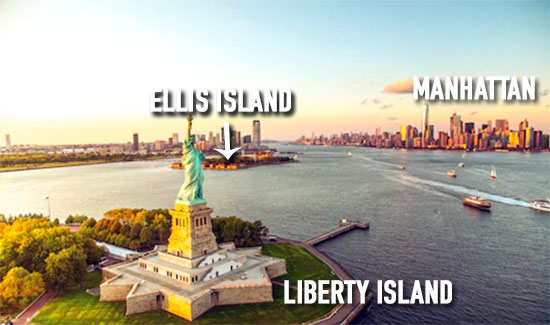 panorama Ellis Island su Manhattan e Liberty Island