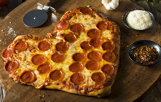 Pizza Pepperoni a forma di cuore