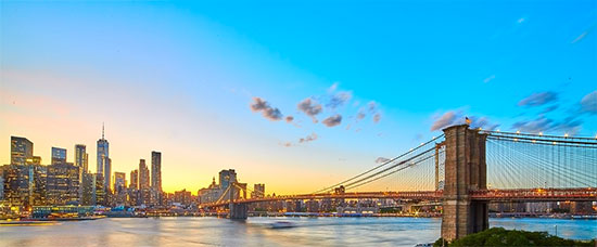 Vista del Ponte di Brooklyn dal distretto di Brooklyn