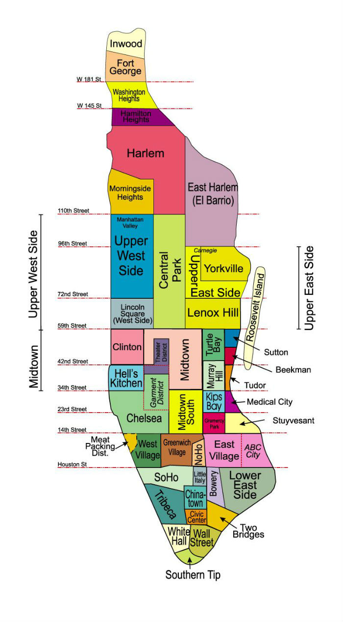 I quartieri di Manhattan: la mappa