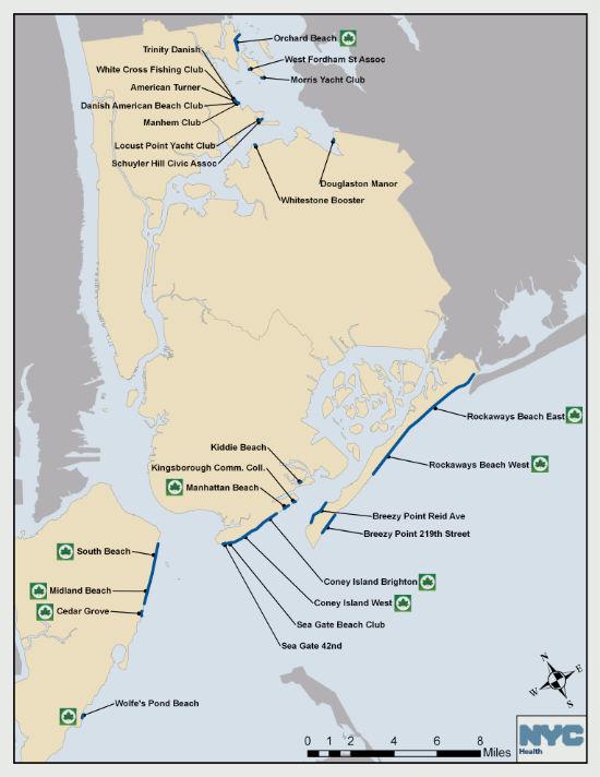 mappa delle spiagge di new york