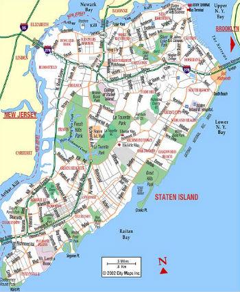 Mappa di Staten Island