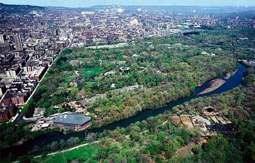 Veduta aerea di una parte dell'area del Bronx Zoo a New York. Spicca sicuramente la notevole superficie visitabile, una vera riserva naturalistica nel cuore della città.