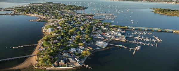 Vista dall'alto su City Island a New York