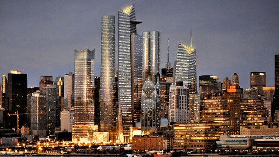 vista serale di Hudson Yards a New York